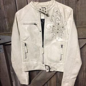 Archaic cream faux leather jacket size Small